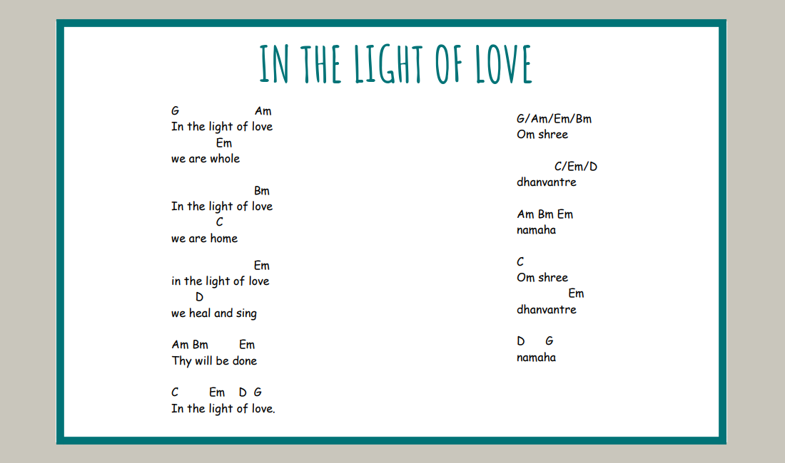 in the light of love mantra