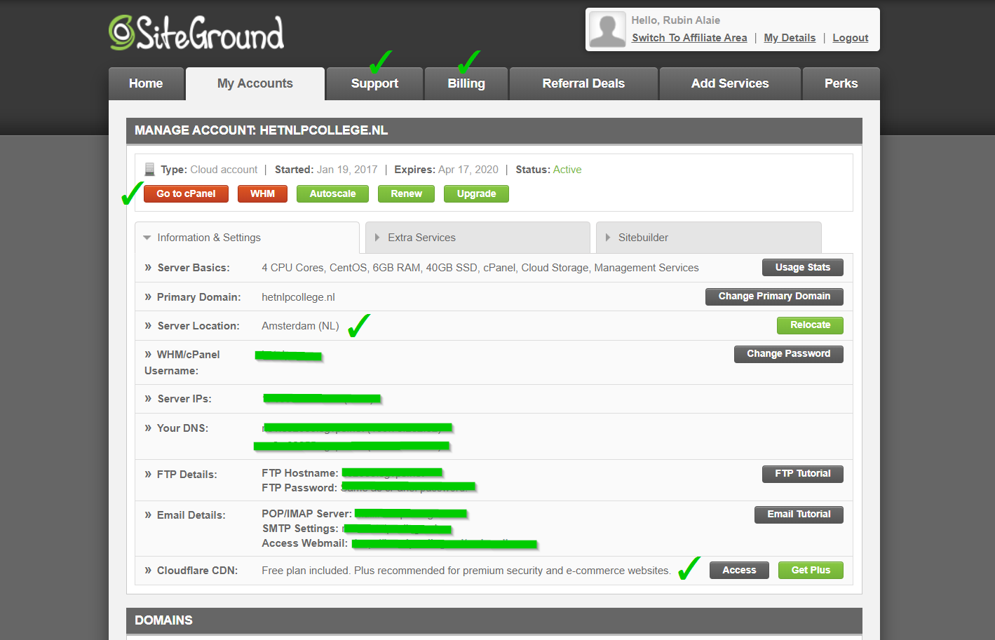 siteground user area