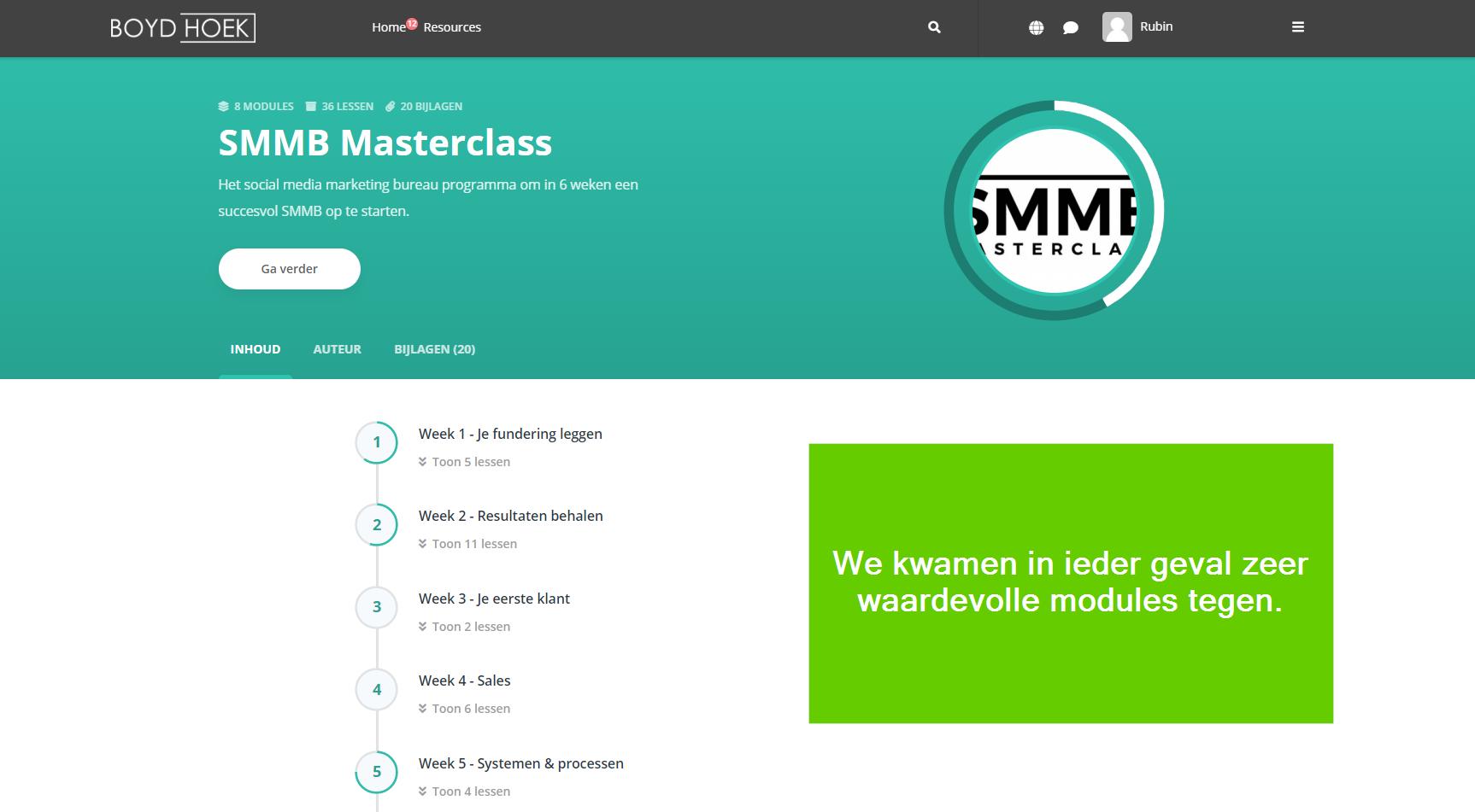 de modules van de smmb masterclass